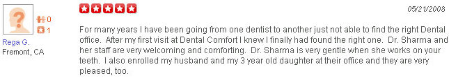 Patient Review of Dental Comfort